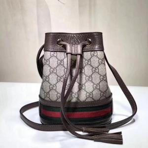 550620原單啡棕(古金五金) Supreme Ophidia系列 小桶包 牛皮 15x18x9.5cm